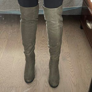 Above Knee Grey Leather Boots | Size 9